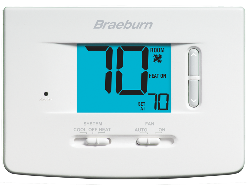 BRAEBURN 1020 (1H/1C) ECONOMY NON-PROGRAMMABLE THERMOSTAT, SINGLE STAGE CONVENTIONAL OR HEAT PUMP SYSTEMS, MILLIVOLT SYSTEMS MC387365