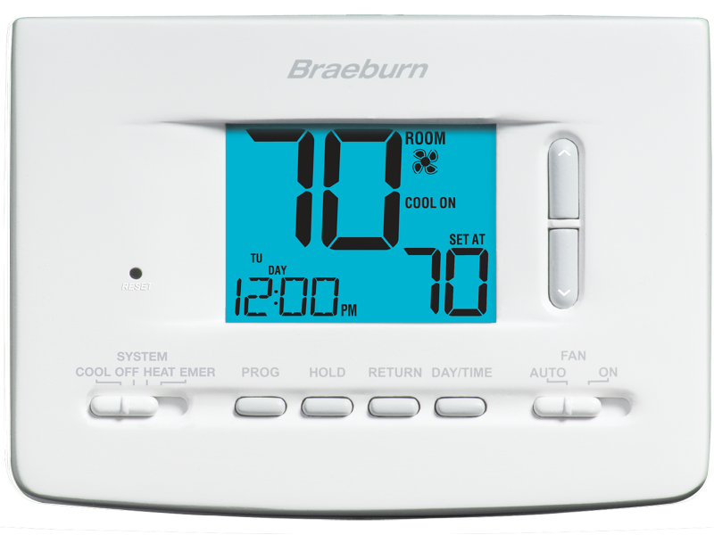 BRAEBURN 2220 (2H/2C OR 2H/1C) UNIVERSAL THERMOSTAT 7 DAY, 5-2 DAY PROGRAMMABLE NON-PROGRAMMABLE, 2H/1C HEAT PUMP 2H/2C CONVENTIONAL MC387367