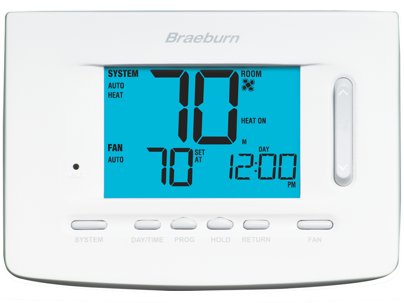 BRAEBURN 5020 (1H/1C OR 2H/1C) PROGRAMMABLE THERMOSTAT, 7 DAY, 5-2 DAY NON-PROGRAMMABLE, SINGLE STAGE CONVENTIONAL HEAT PUMP SYSTEMS (DUAL FUEL CONTROL WITH OPTIONAL OUTDOOR SENSOR) MC378813