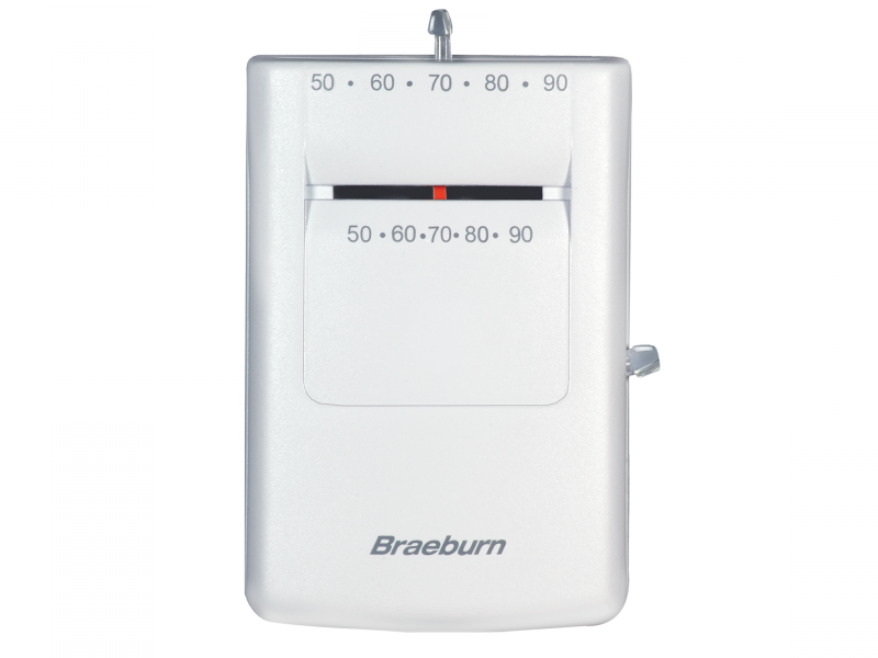 BRAEBURN 505 (HEAT ONLY) BUILDER SERIES THERMOSTAT, MAGNETIC SWITCH TECHNOLOGY, 24 VOLT AC GAS, OIL, ELECTRIC AND MILLIVOLT SYSTEMS, SINGLE STAGE CONVENTIONAL OR HEAT PUMP SYSTEM, VERTICAL MC380033