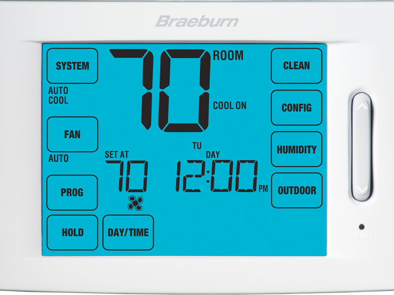 BRAEBURN 6425 DELUXE THERMOSTAT TOUCHSREEN, UNIVERSAL 7 DAY, 5-2 DAY PROGRAMMABLE OR NON PROGRAMMABLE 4H / 2C W/ HUMIDITY CONTROL (replacing 6400)